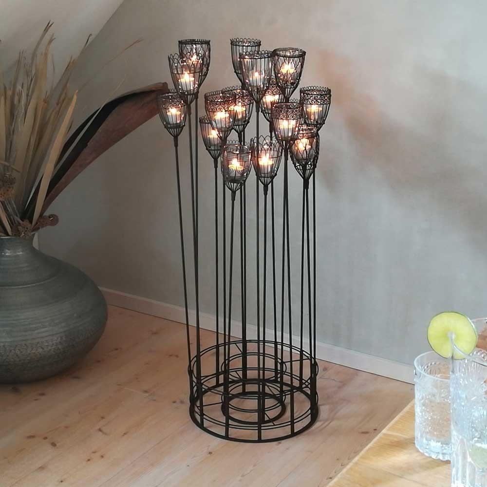 Teelicht Ständer mit 16 Windlichtern Eisen - van verre