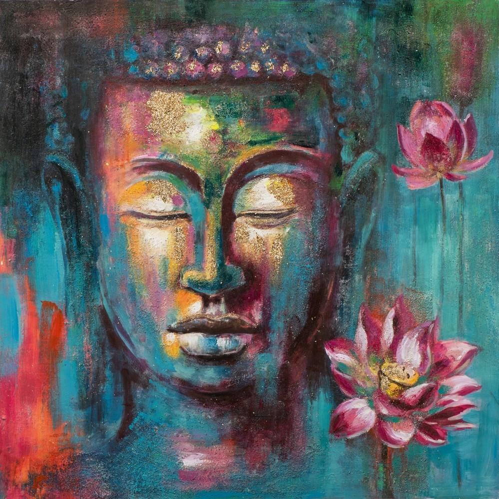 Wandbild Buddha Pink Lotus - 100 x 100 cm - handgemalt
