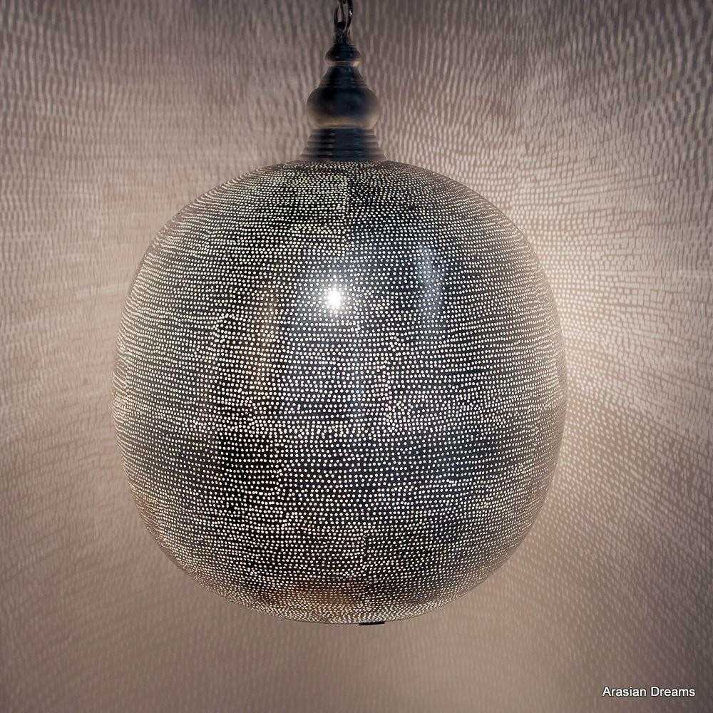 Hängelampe - Ball Filisky XL - versilbert - Zenza