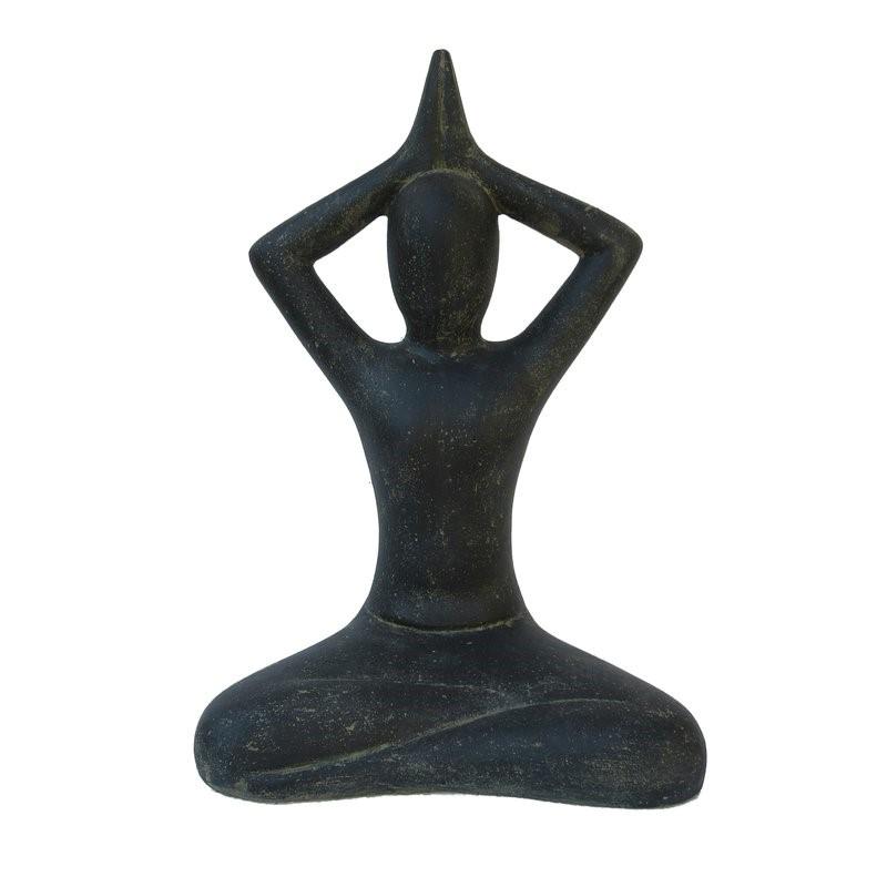 Yoga Figur Shukasana 40 cm - schwarz antikfinish - Vollguss