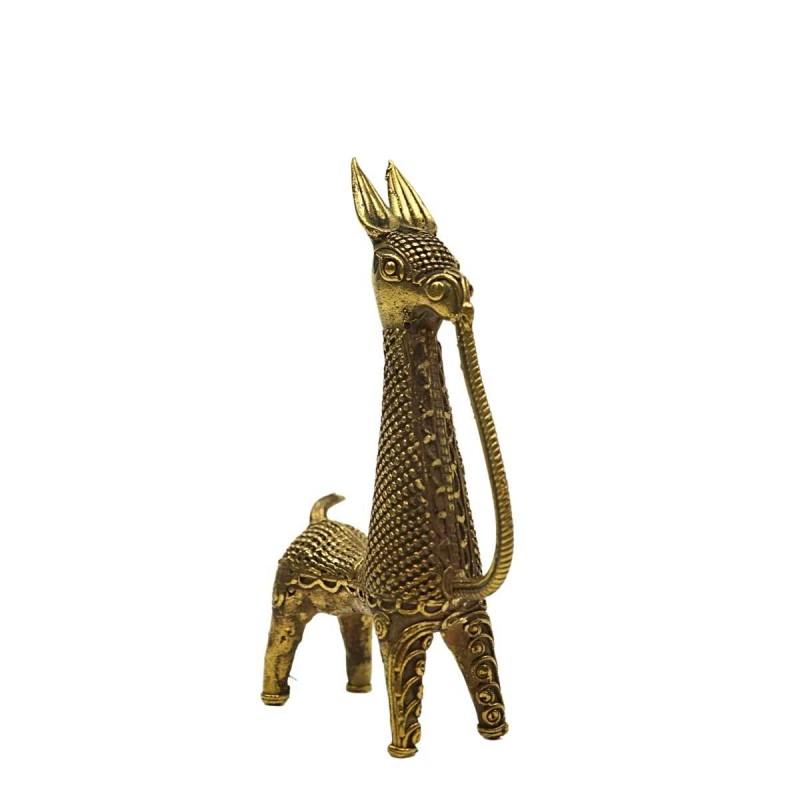 Messingfigur Pferd Dhokra Bankura 13cm Handwerk Indien