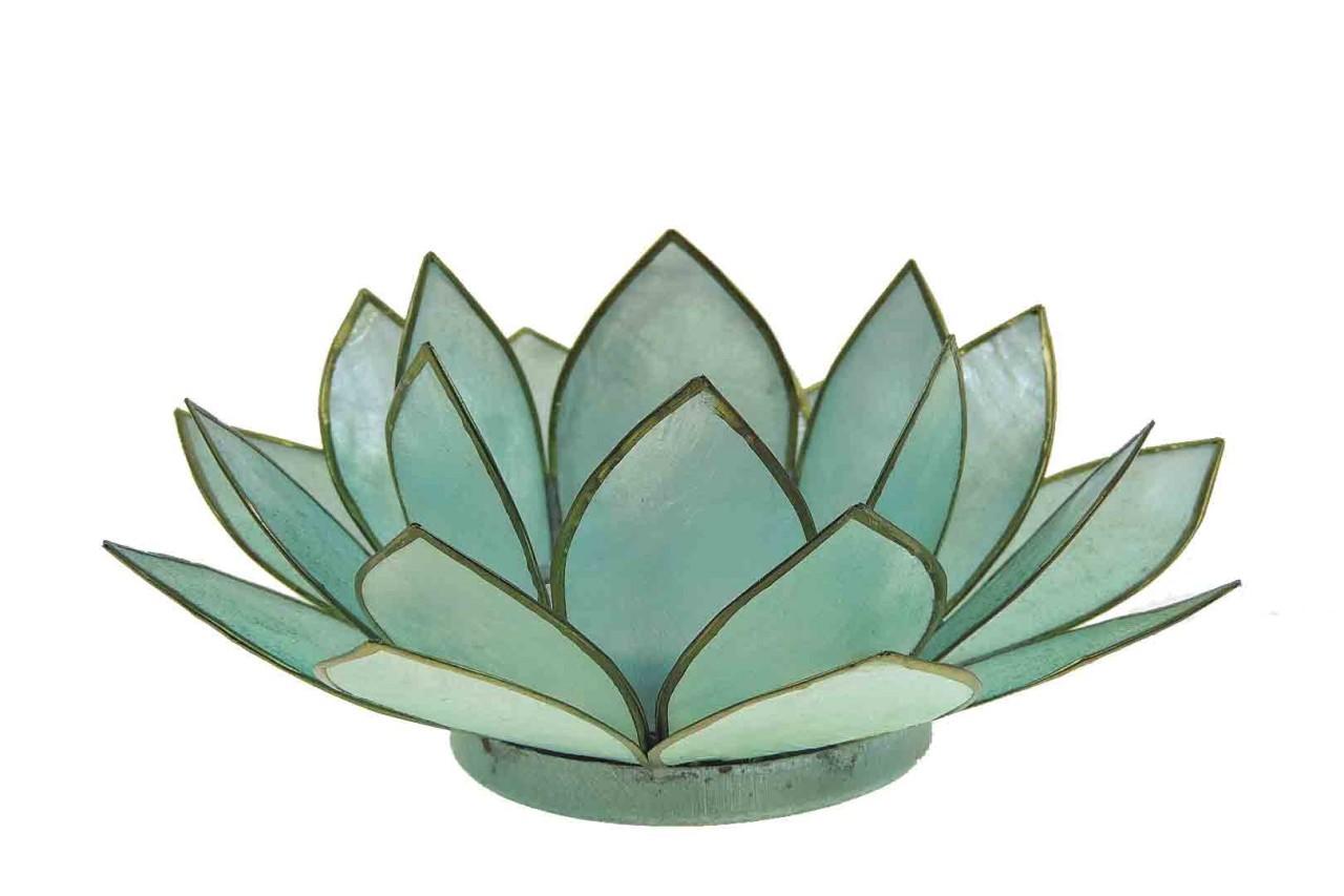 Windlicht Lotus aqua Capiz Muscheln - 13 x 5,5 cm - Handwerk