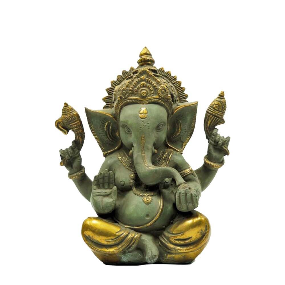 "Messingfigur ""Ganesha"" ca. 22 cm - Farbe Gold/Lightgreen - Handwerk Indien"