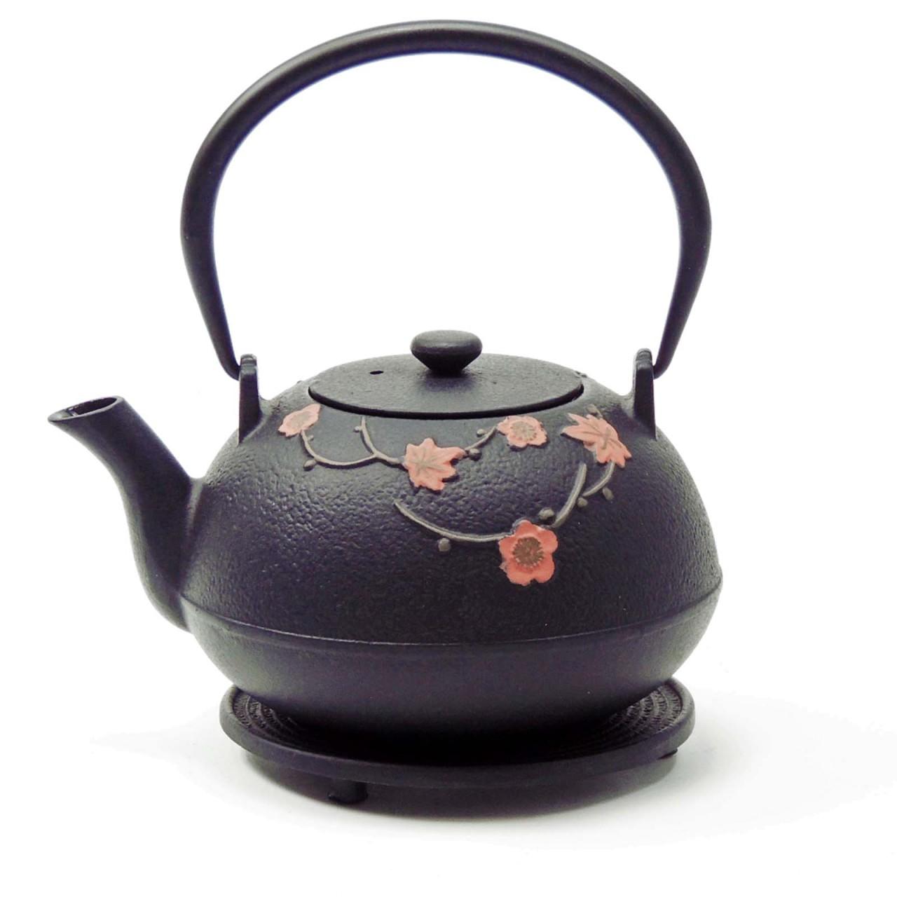 Teekanne Hama, 1 Liter, schwarz/rote Blumen, inkl. Untersetzer und Teesieb