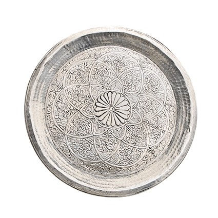 Tablett - Alu - Ø68cm - Indian Style - Handwerk Indien - Van Verre