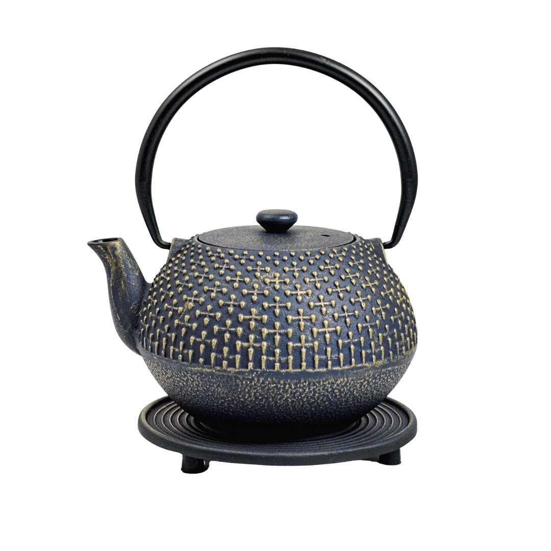 Teekanne Hoshi 0.9L blau inkl. Untersetzer und Teesieb