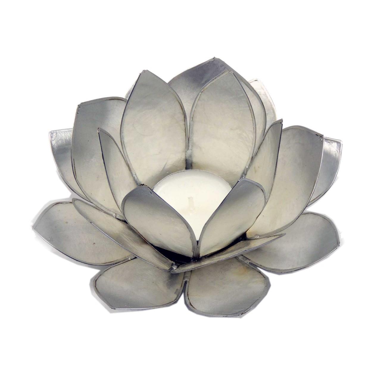 Windlicht Lotus silberfarben - Capiz Muscheln - 13 x 5,5 cm - Handwerk