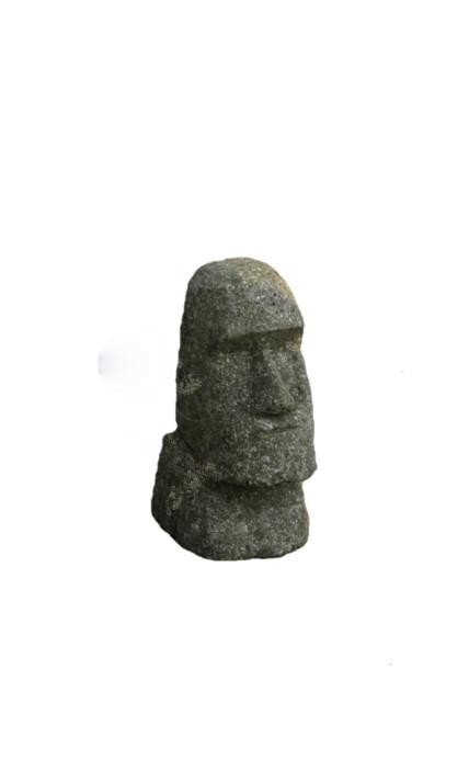 Moai 15 cm - handgeschlagen - grüner Basanit - Unikat