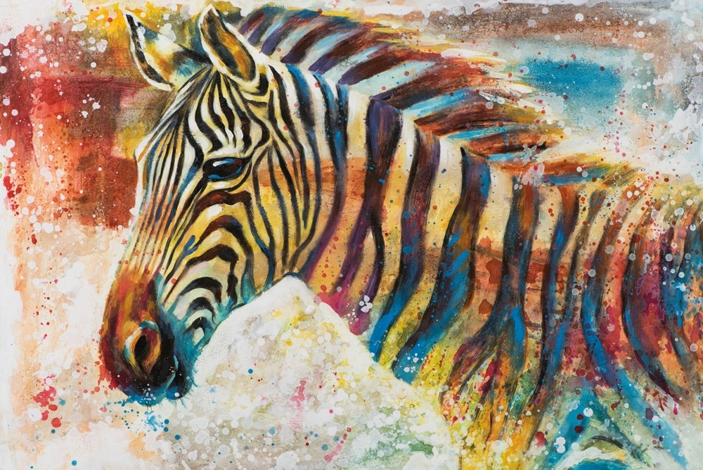 Wandbild Zebra Colored - 80 x 120 cm - handbearbeitet