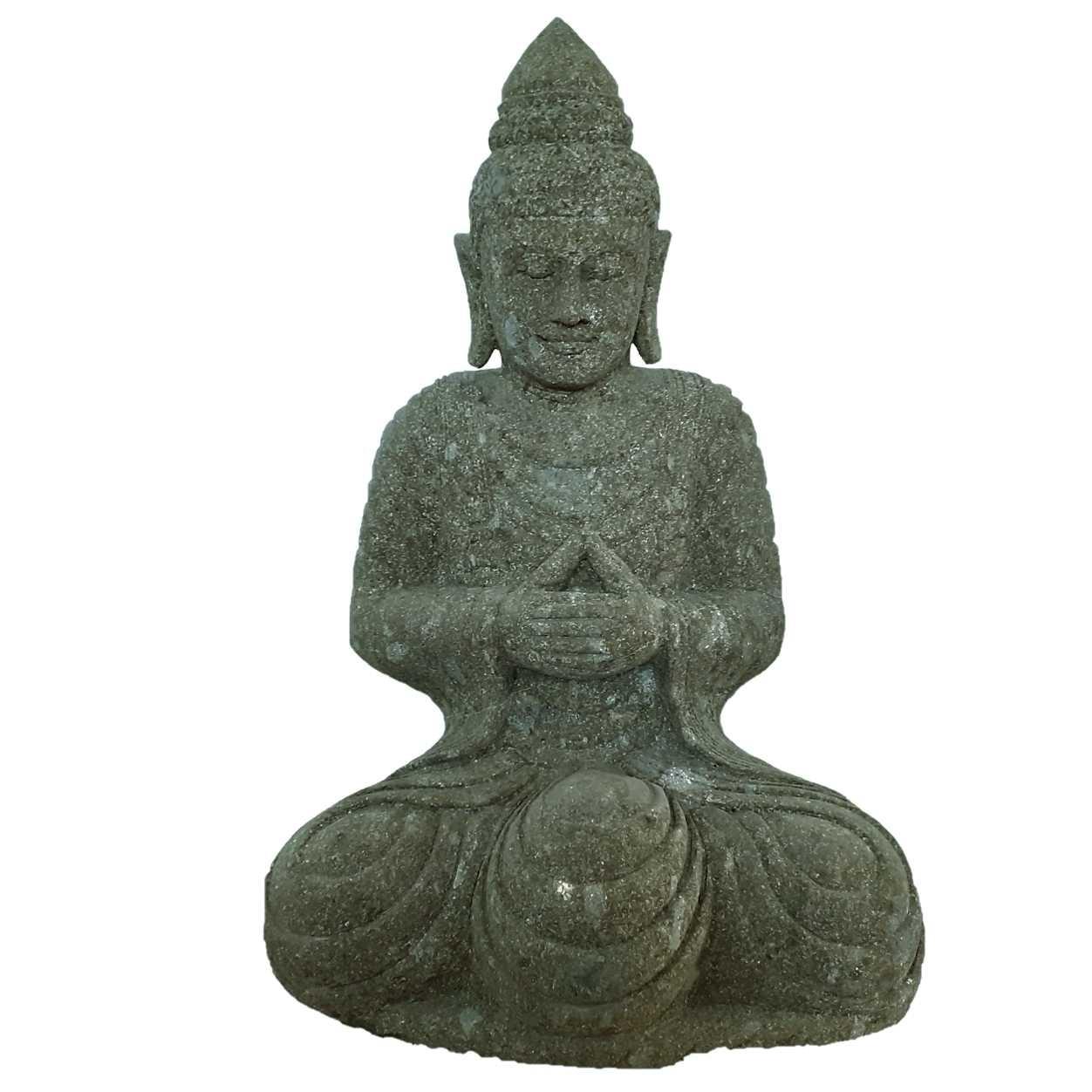 Buddha sitzend Meditation 92 cm handgeschlagen Basanit