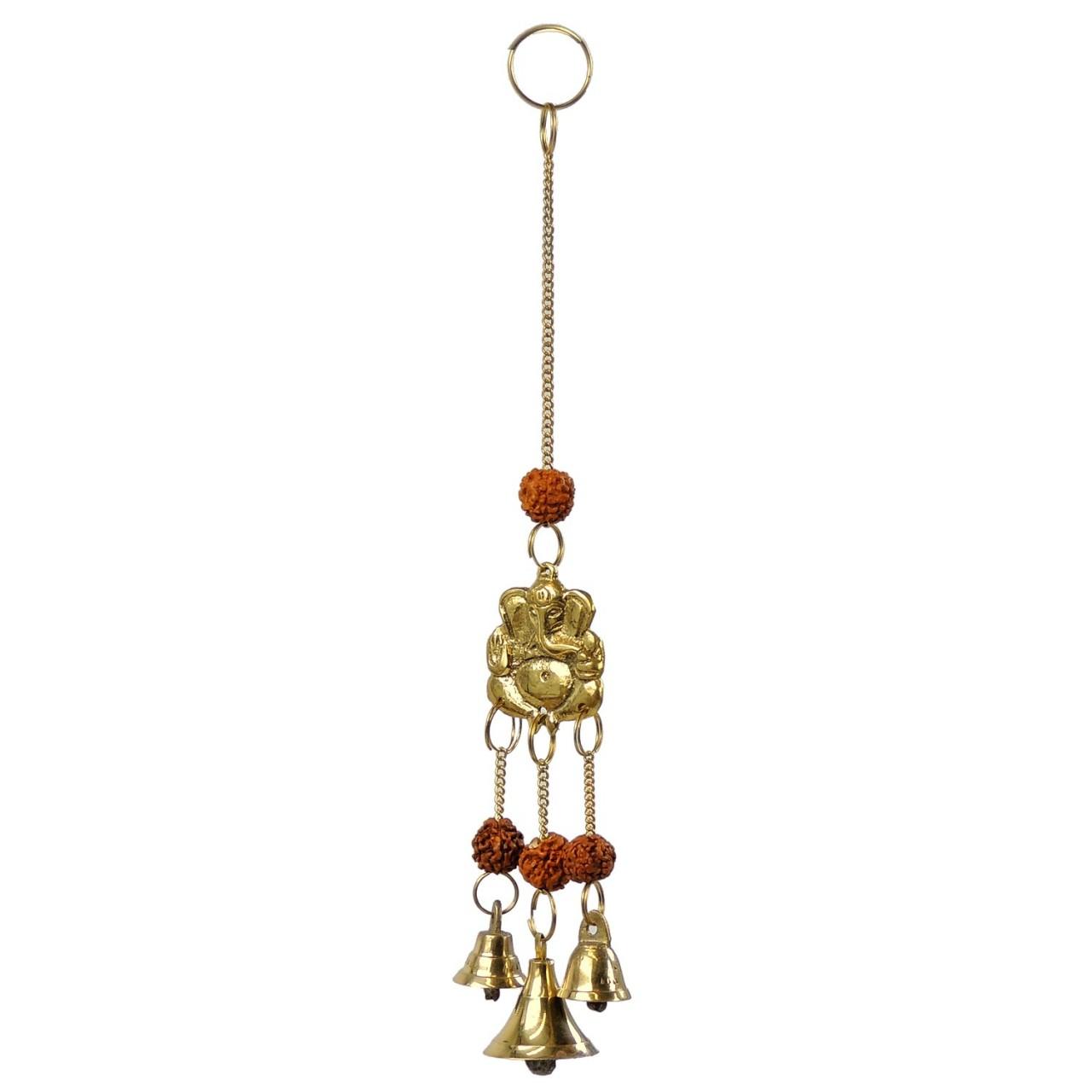 Windspiel Glöckchen Ganesha – Messing / RudrakshaSamen – Handwerk Indien
