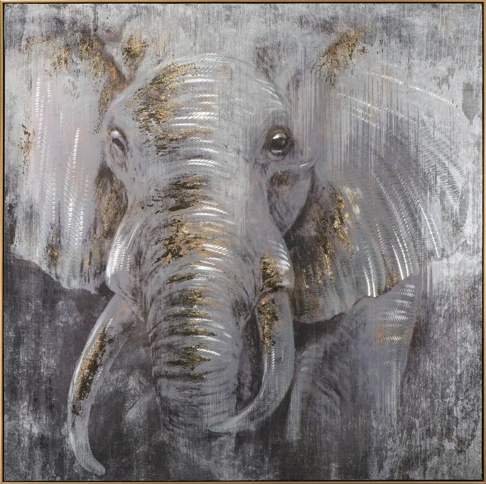 Wandbild Elefant - 100 x 100 cm - handbearbeitet
