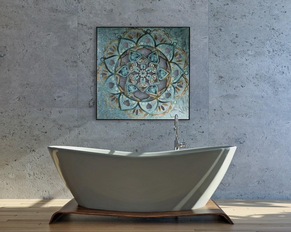 Wandbild - Mandala Blue - 102 x 102 cm - Metall - bedruckt / bemalt