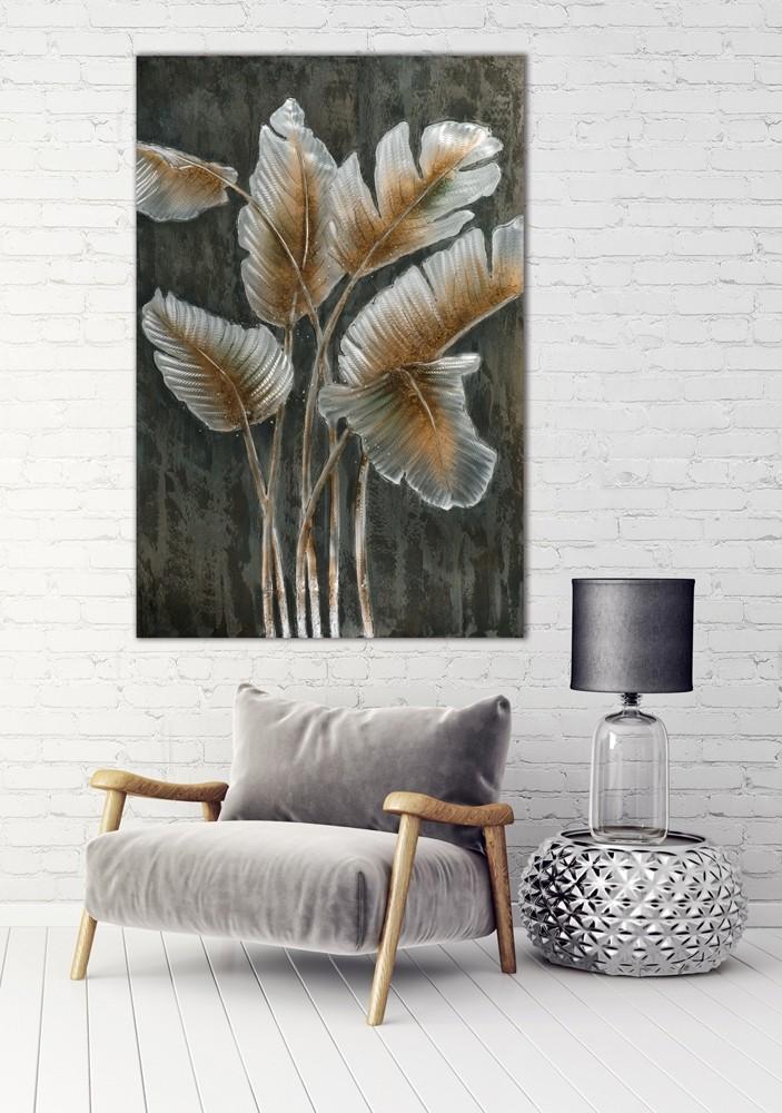 Wandbild - Leaves - 100 x 150 cm - Metall - bedruckt / bemalt / bearbeitet