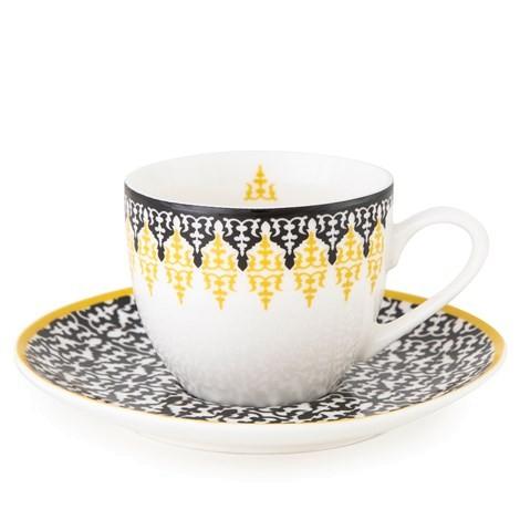 4er Set Tassen mit Unterteller - Safra - Porzellan