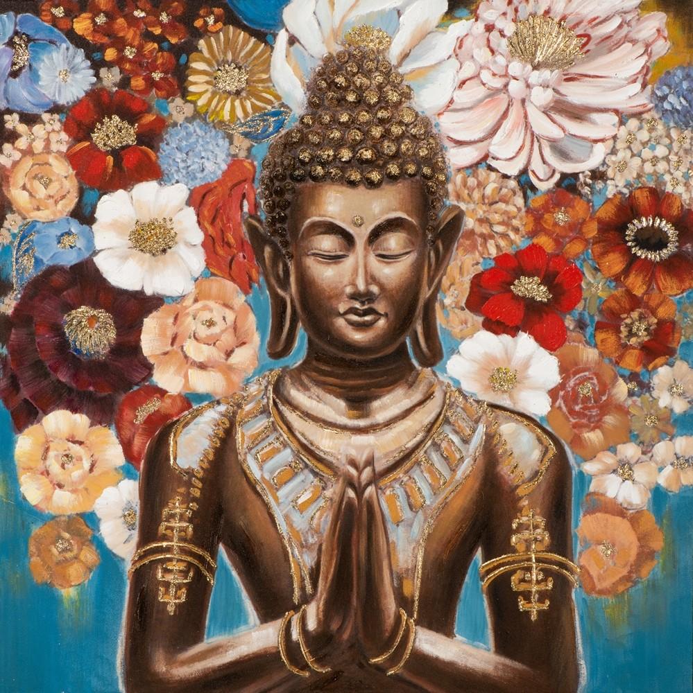 Wandbild - Buddha Indian Flower - auf Leinwand - 100 x 100 - handgemalt