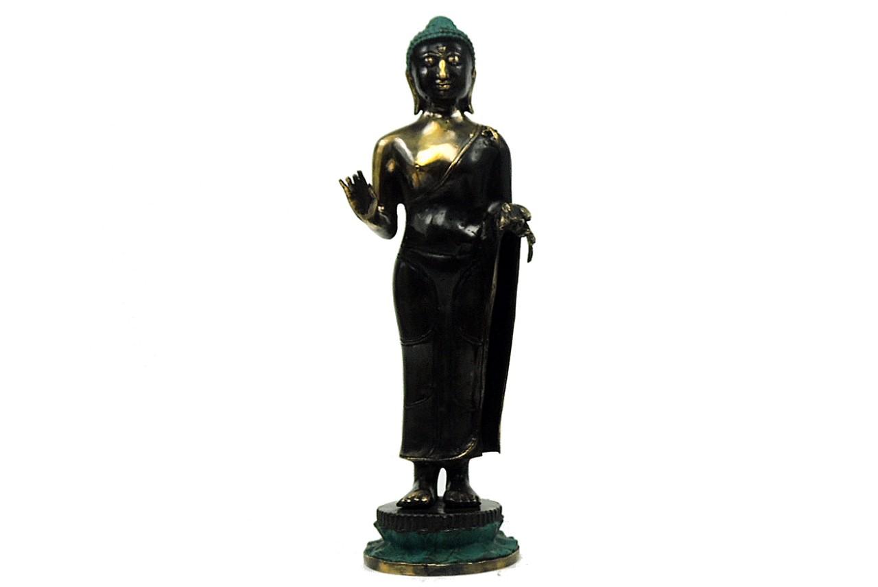Buddha Ta Nga, ca. 38 cm, Farbe Grün, Bronze Guss