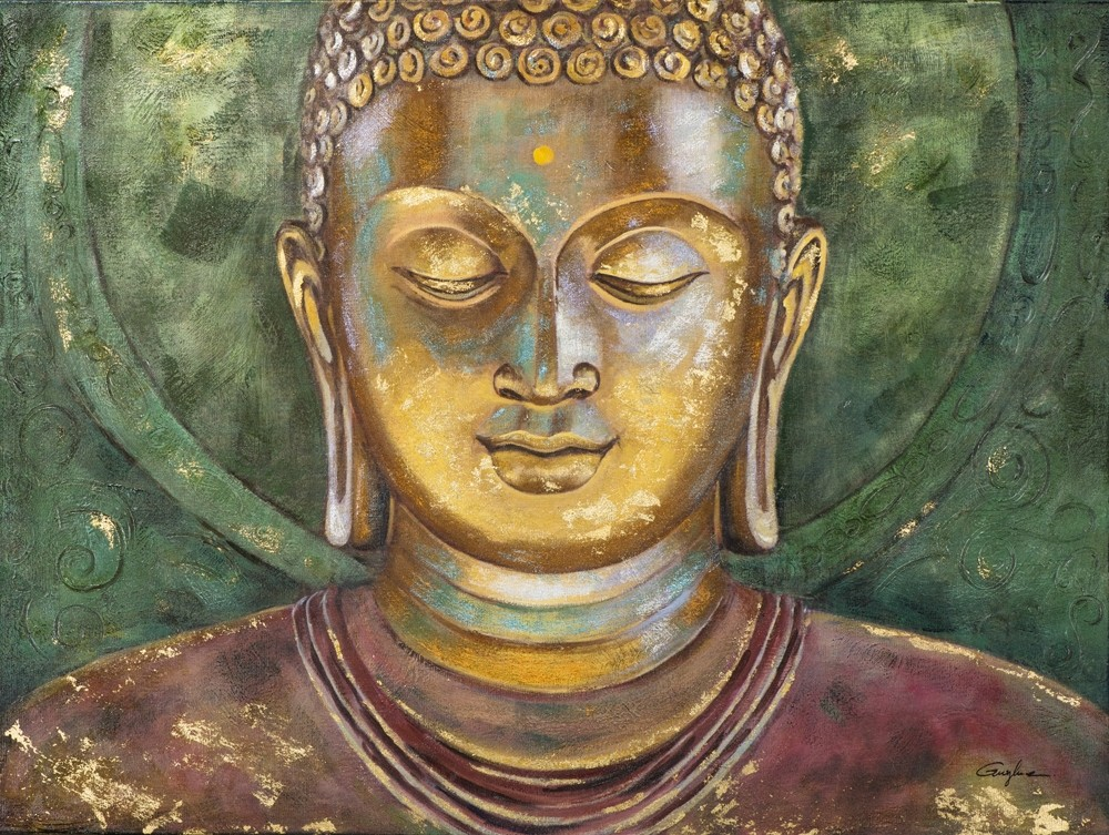 Wandbild - Buddha Angkor Wat - auf Leinwand - 90 x 120 - handbearbeitet