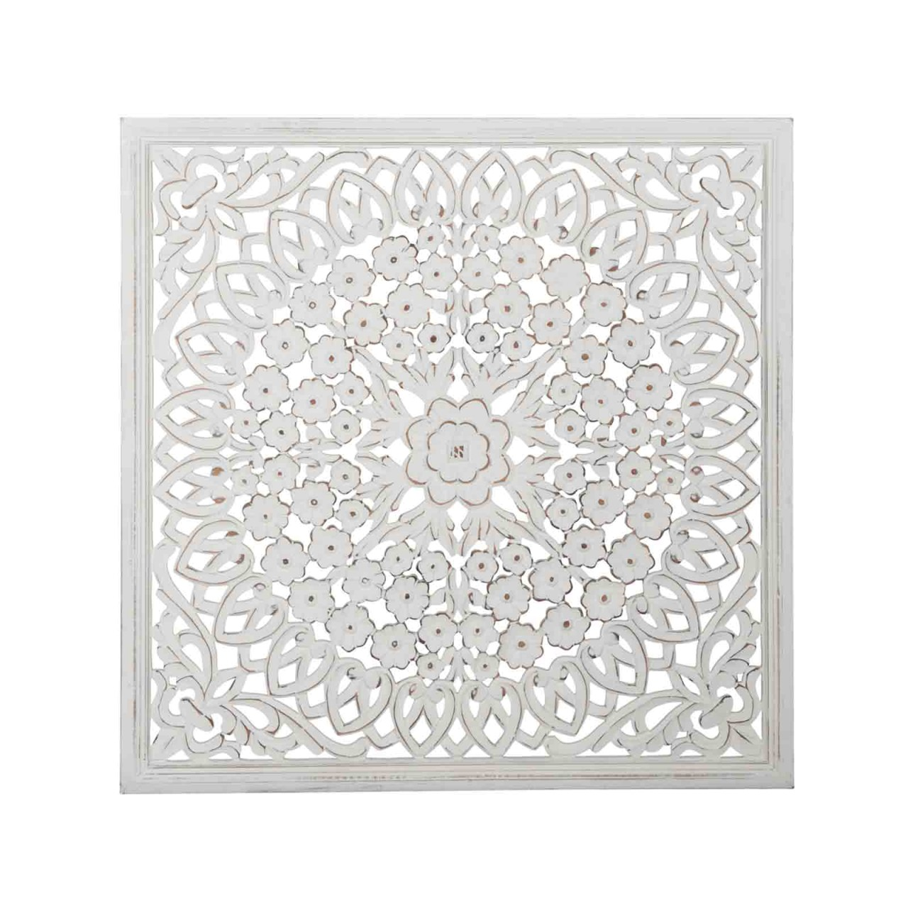 Holzbild Ornament MDF 90x90cm weiss
