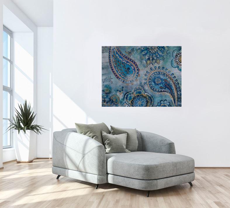 Wandbild - India Mandala Blue - auf Leinwand - 100 x 75 - bedruckt und handbearbeitet