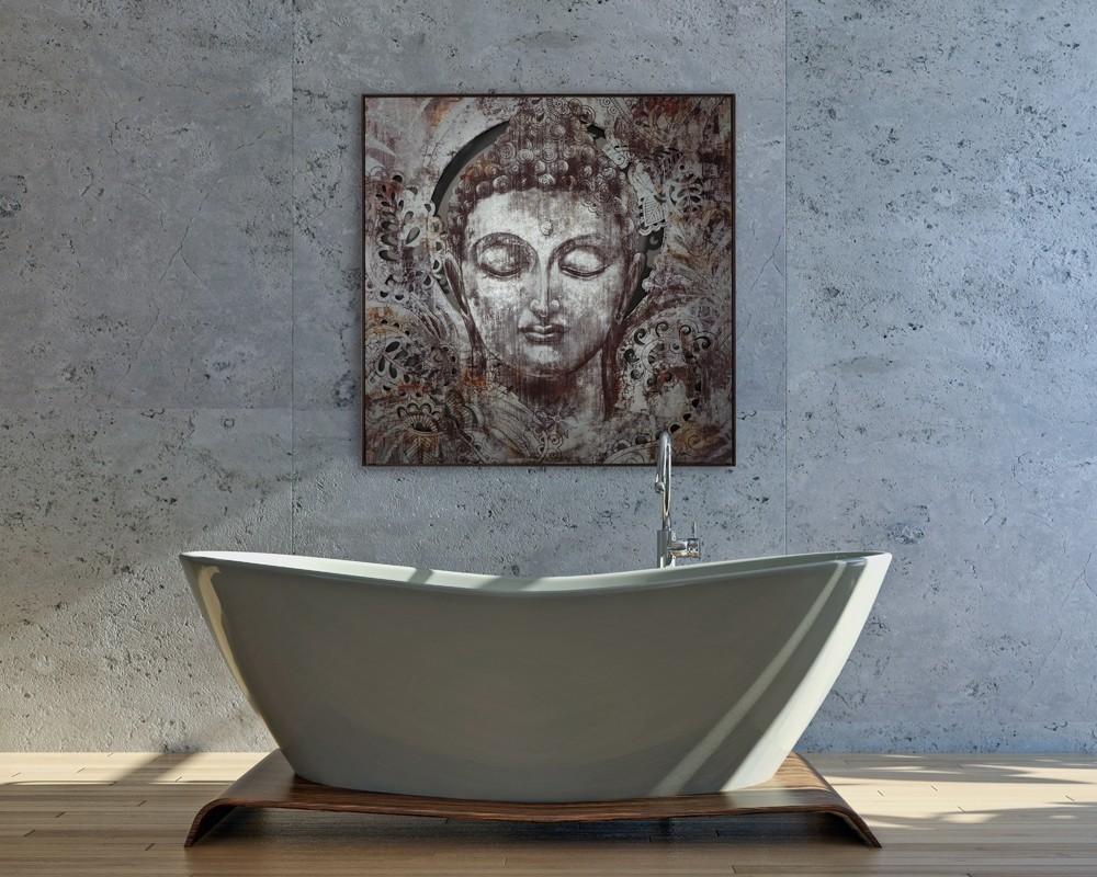 Wandbild Buddha - 100 x 100 cm - Metall bedruckt / bemalt