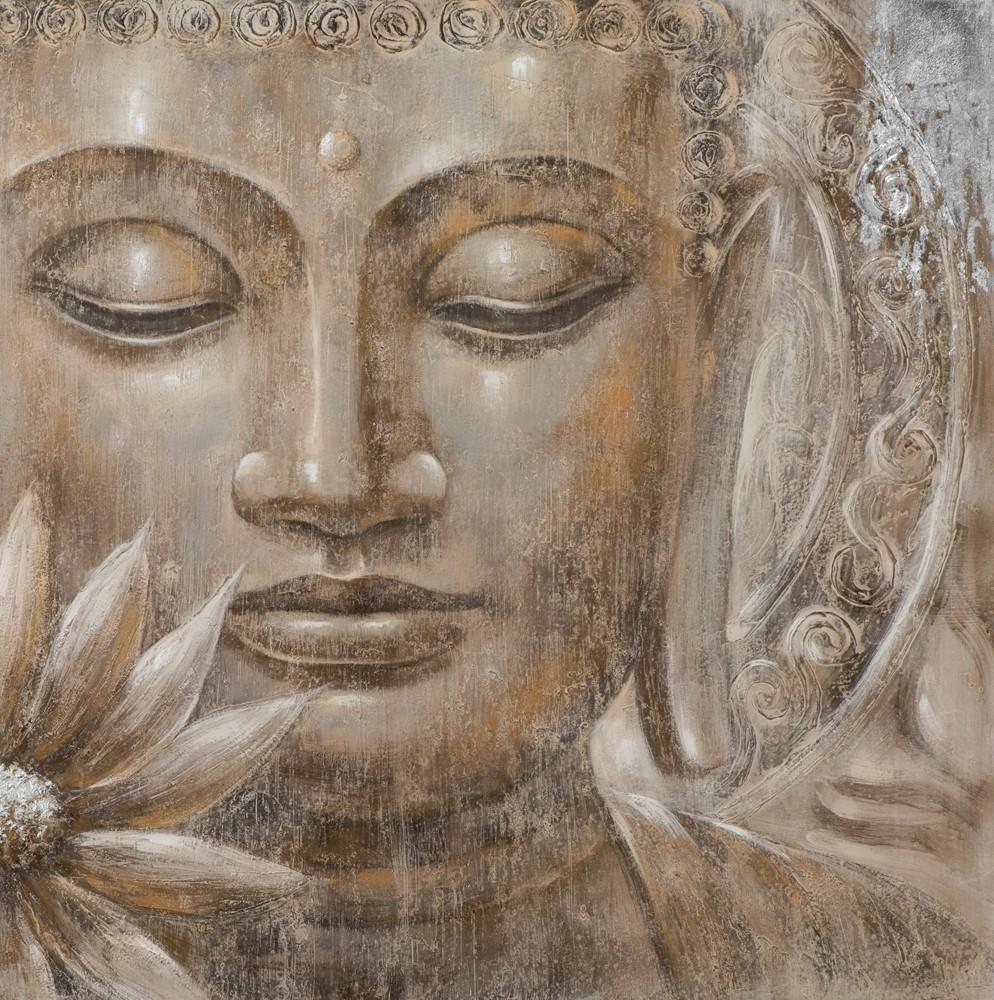 Wandbild - Buddha Bali - auf Leinwand - 100 x 100 - handgemalt
