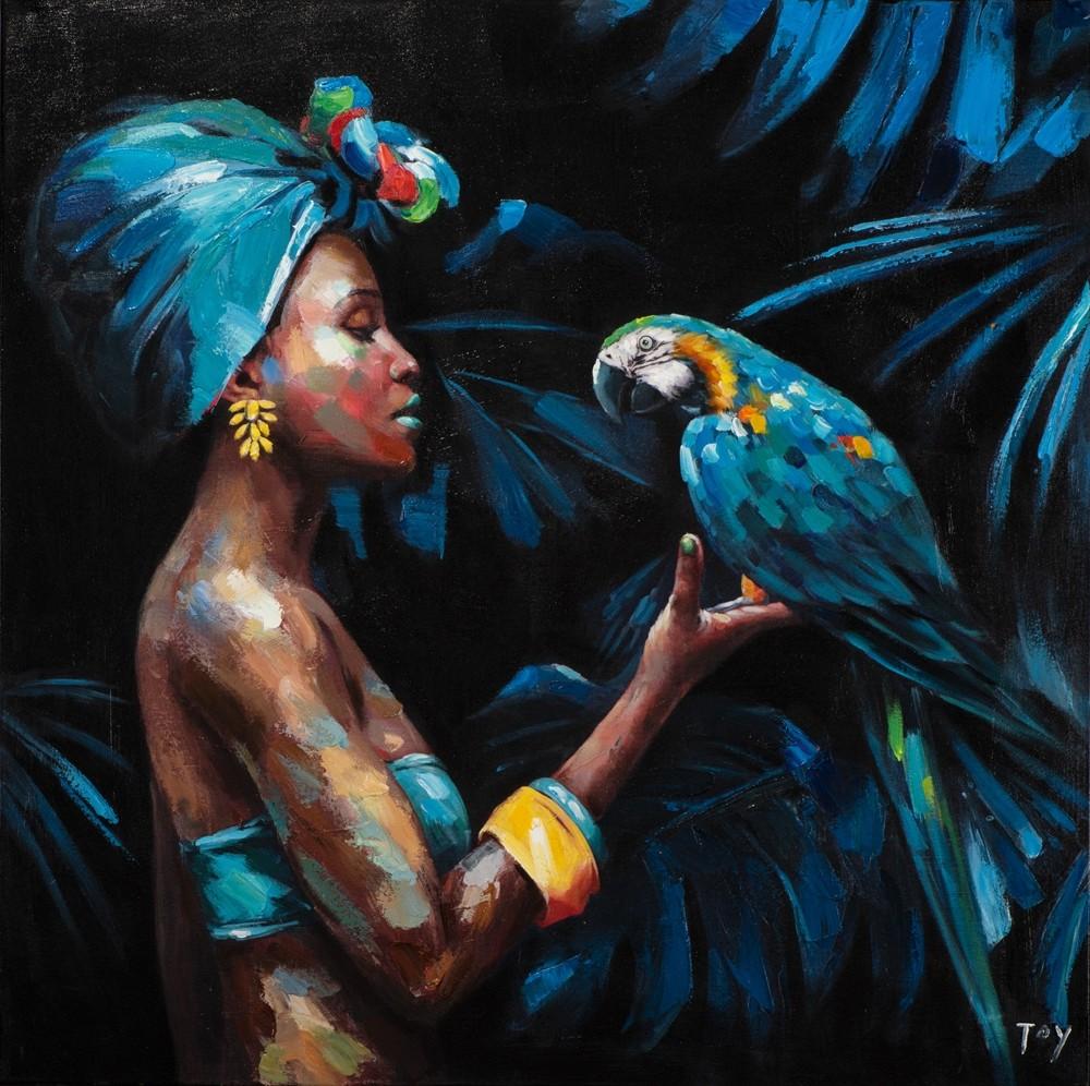 Wandbild - Beauty and the Parrot - auf Leinwand - 100 x 100 - gedruckt und handbearbeitet