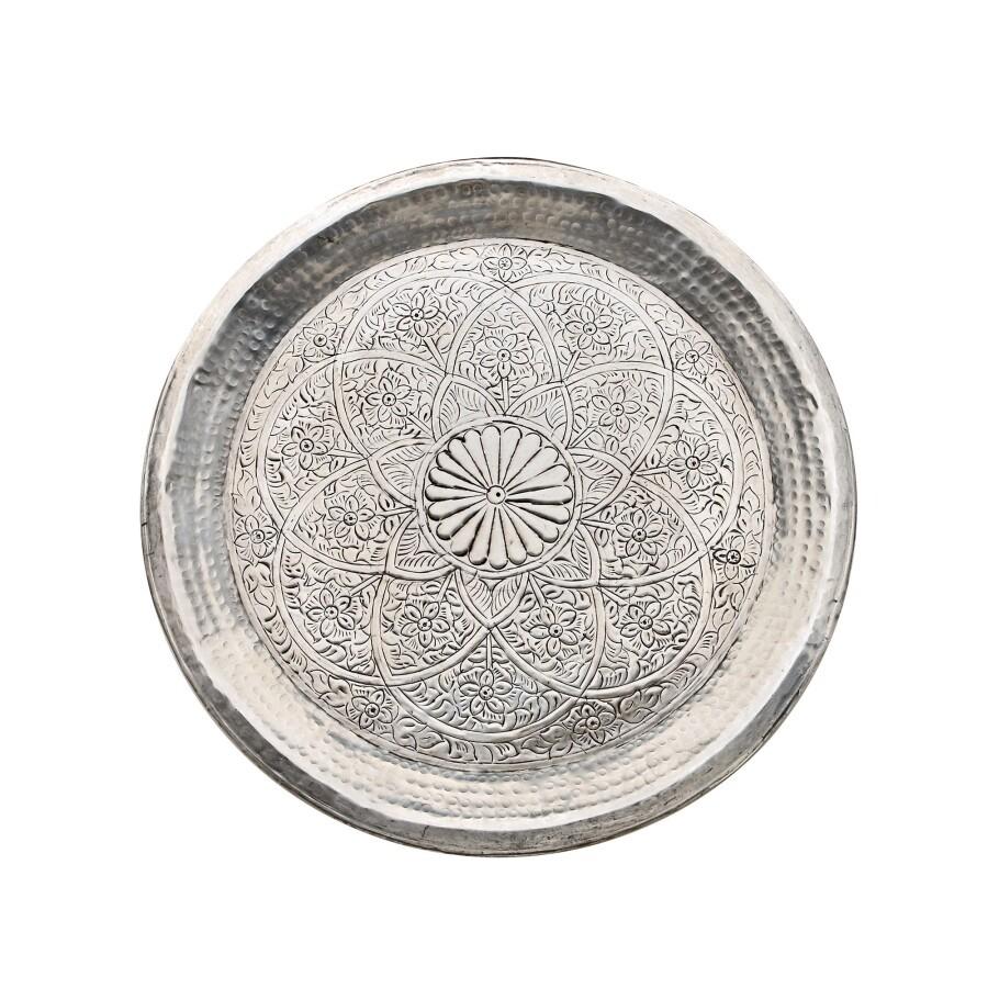 Tablett - Alu - Ø58cm - Indian Style - Handwerk Indien - Van Verre