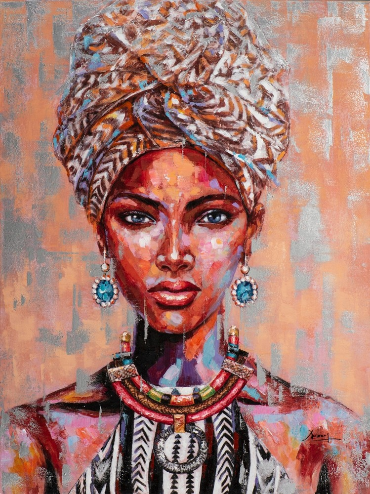 Wandbild - Beauty of Africa - auf Leinwand - 90 x 120 - bedruckt / handgemalt