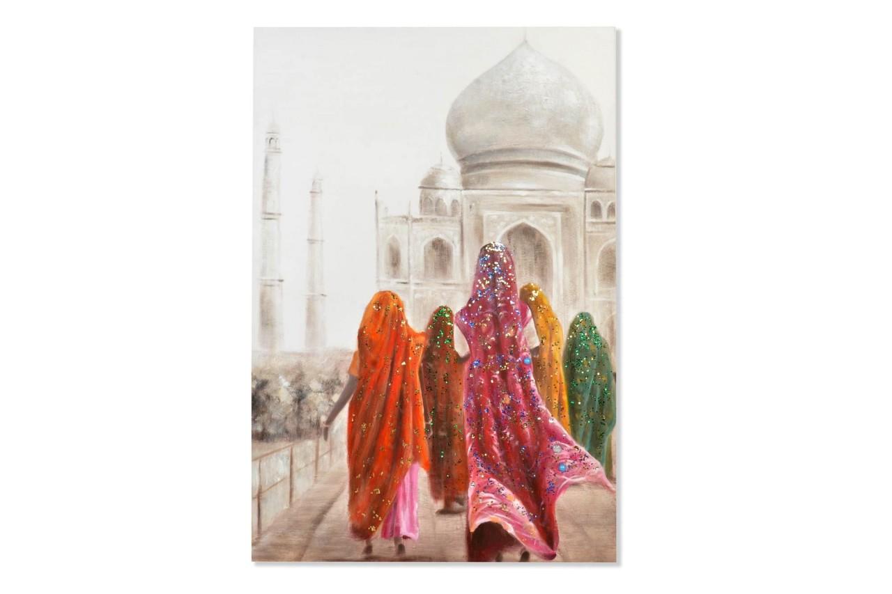 Wandbild - Colourful India / TajMahal - auf Leinwand - 150 x 100 - handbearbeitet