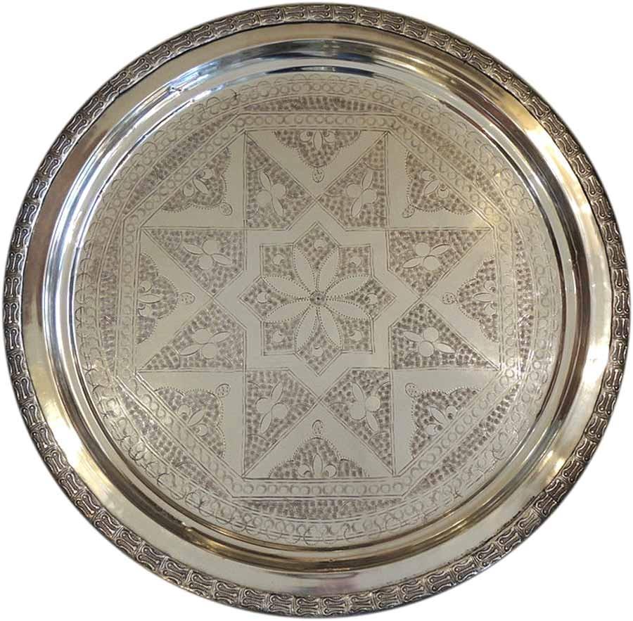 """Teetablett """"Marrakech"""" - B07 - alt und aufbereitet - Messing versilbert - Einzelstück"""