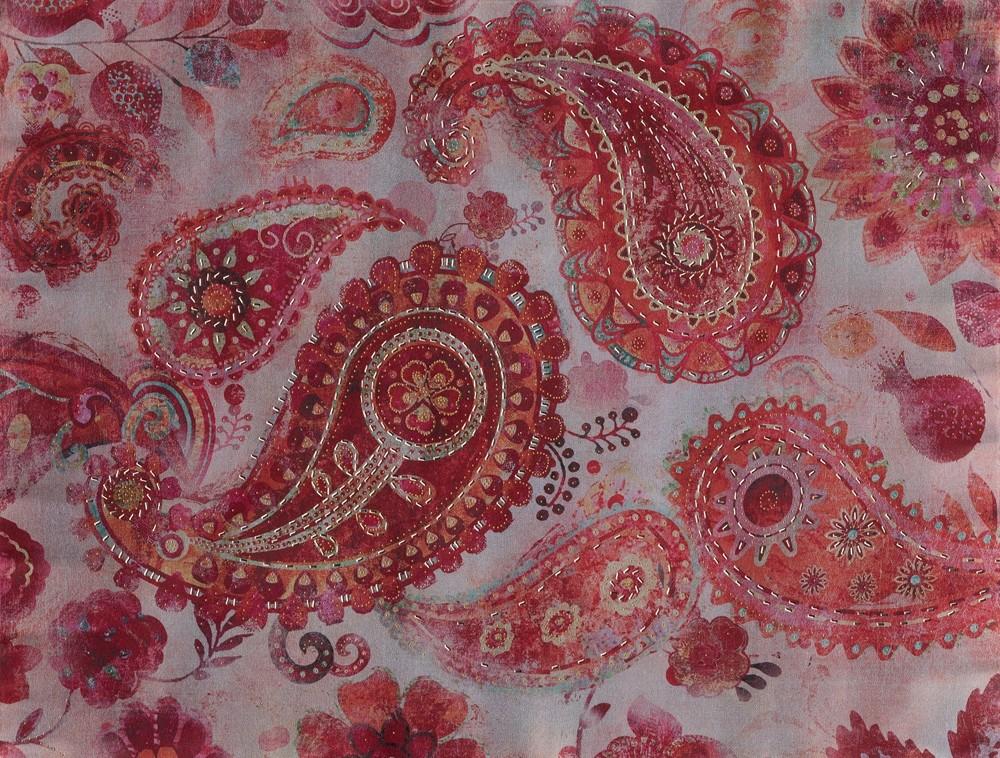 Wandbild - India Mandala Red - auf Leinwand - 100 x 75 - bedruckt und handbearbeitet
