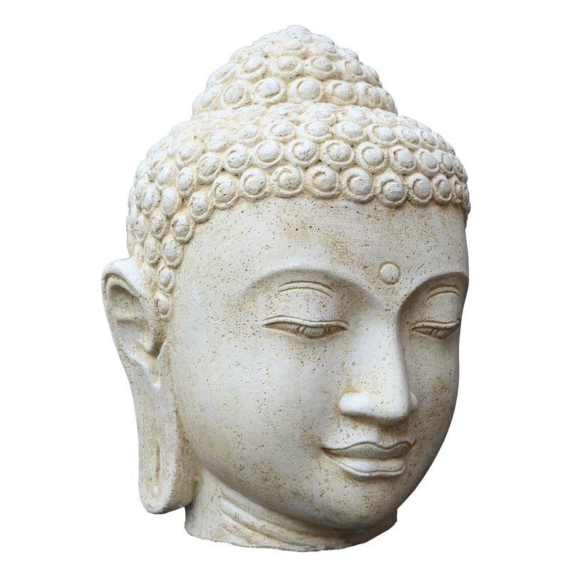 Buddha Kopf 50 cm WeissAntik - Steinfigur Hohlguss