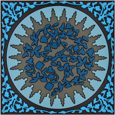 Topfuntersetzer Silikon - Trivet Mosaic Blue - 18x18cm