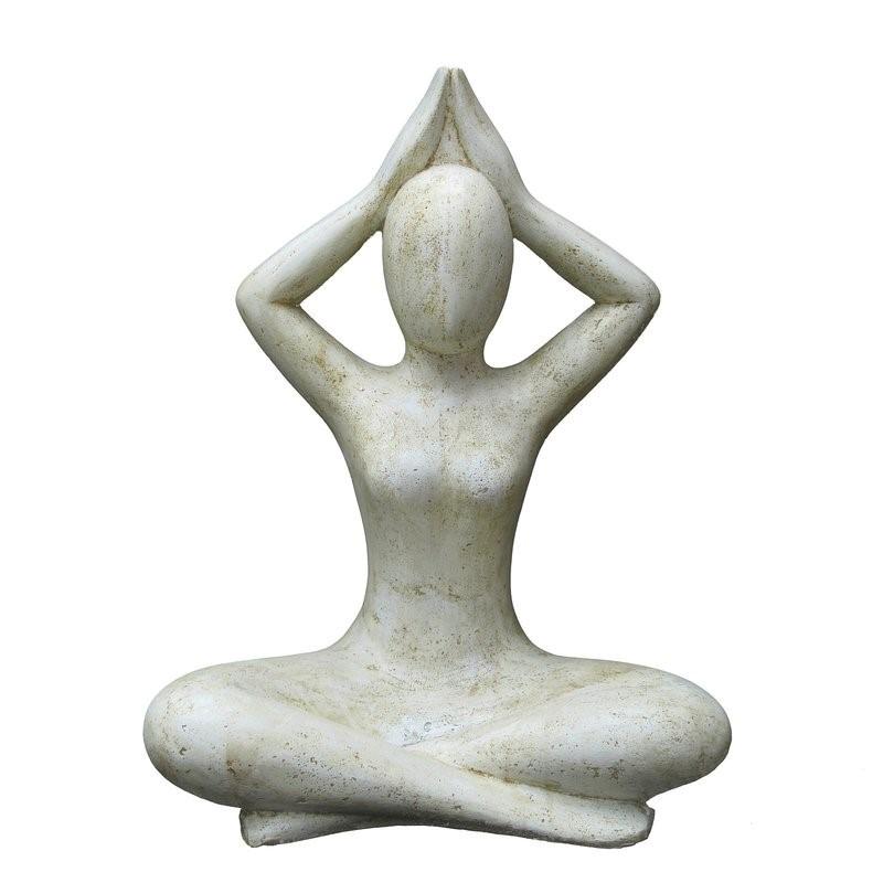 Yoga Figur Shukasana 80 cm - weiss/beige antikfinish - Steinvollguss