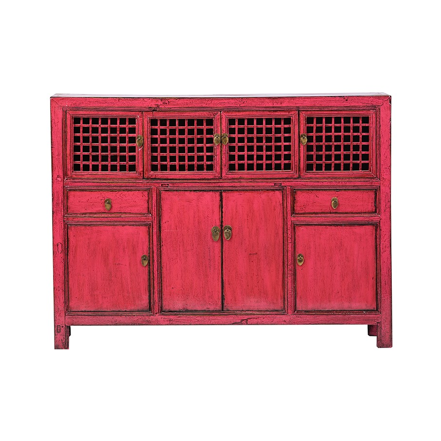 Kommode - China Möbel - Rot - Original Hebei ca. 120 Jahre alt - seltenes Format