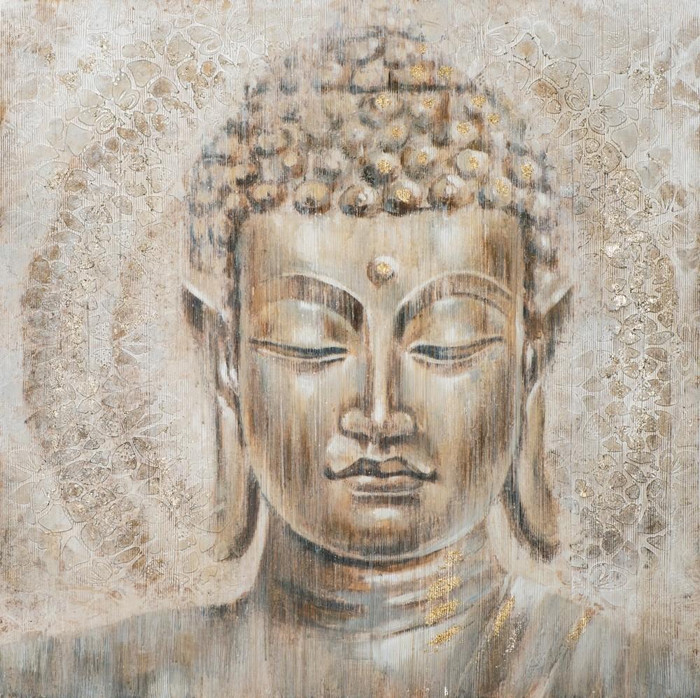 Wandbild - Buddha Goldflower - auf Leinwand - 100 x 100 - handgefertigt