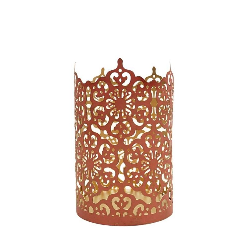 Windlicht Ornament M rot 10x15cm