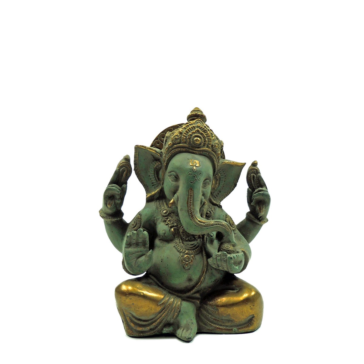 "Messingfigur ""Ganesha"" ca. 18 cm - Farbe Gold/Lightgreen - Handwerk Indien"