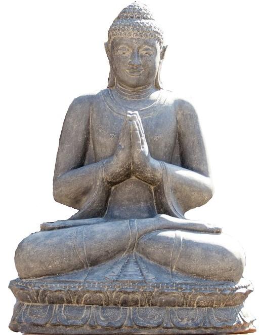 Buddha sitzend 200 cm - Begrüssung - Steinguss - Indonesien