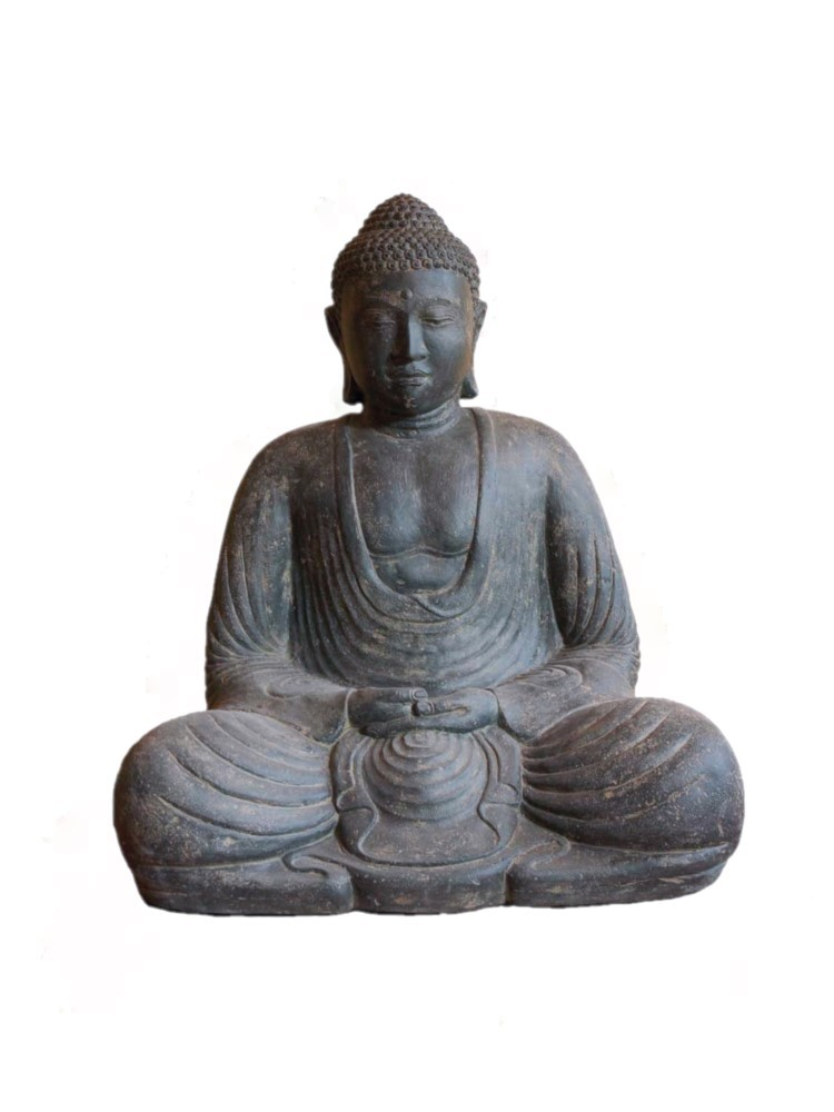 Buddha Japan 82 cm - sitzend Meditation - Steinhohlguss - Indonesien