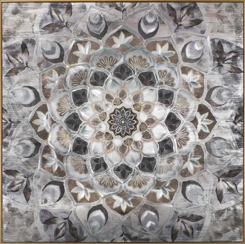 Wandbild - Fantasy Flower - 102 x 102 cm - handbearbeitet