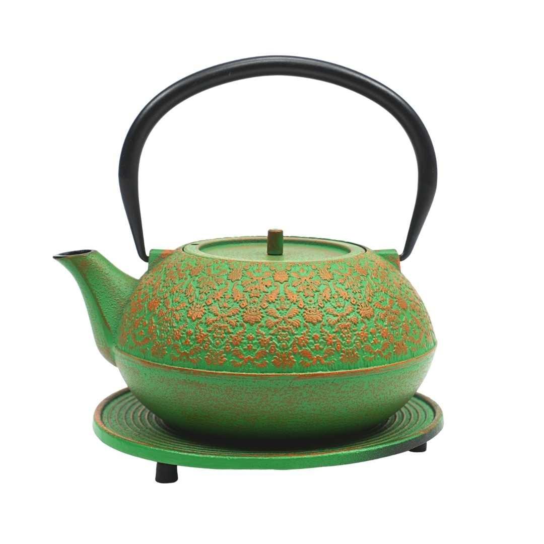 Teekanne Mari 1.2L grün-orange inkl. Untersetzer und Teesieb