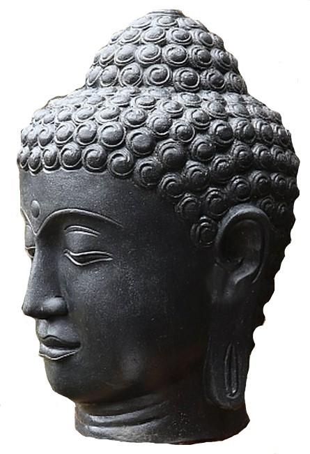 Buddha Kopf 100 cm SchwarzAntik - Steinfigur Hohlguss