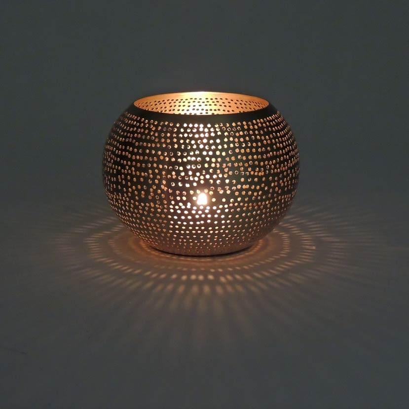Orientalisches Windlicht Dots Small gold