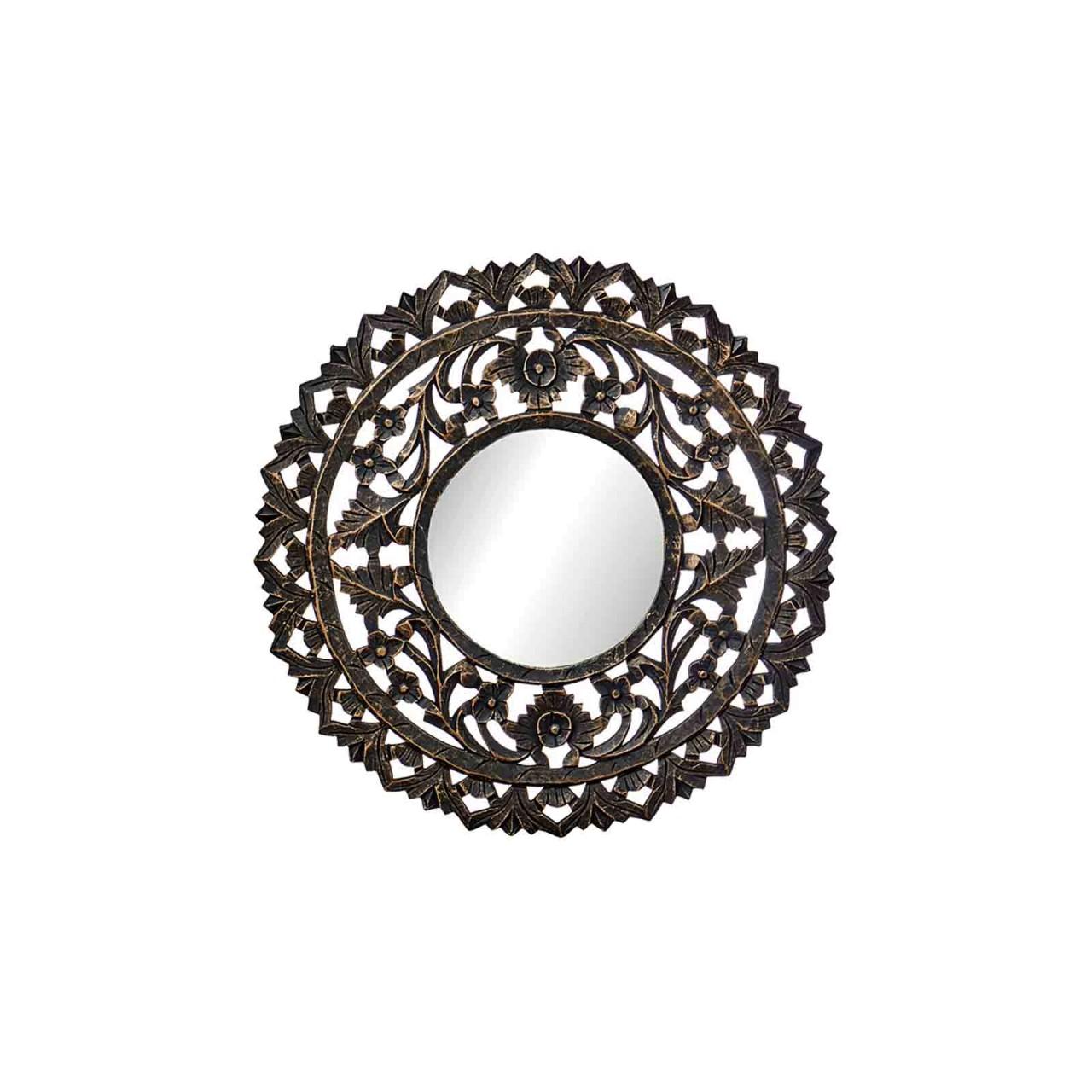 Wandbild-Spiegel / Wanddeko - D 60 cm - Holz MDF schwarz/goldfarben lackiert