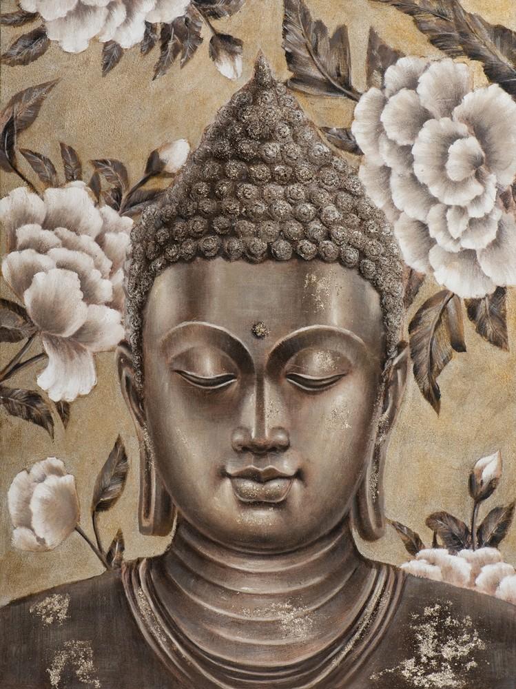 Wandbild - Buddha SilverGold - auf Leinwand - 90 x 120 - handgefertigt